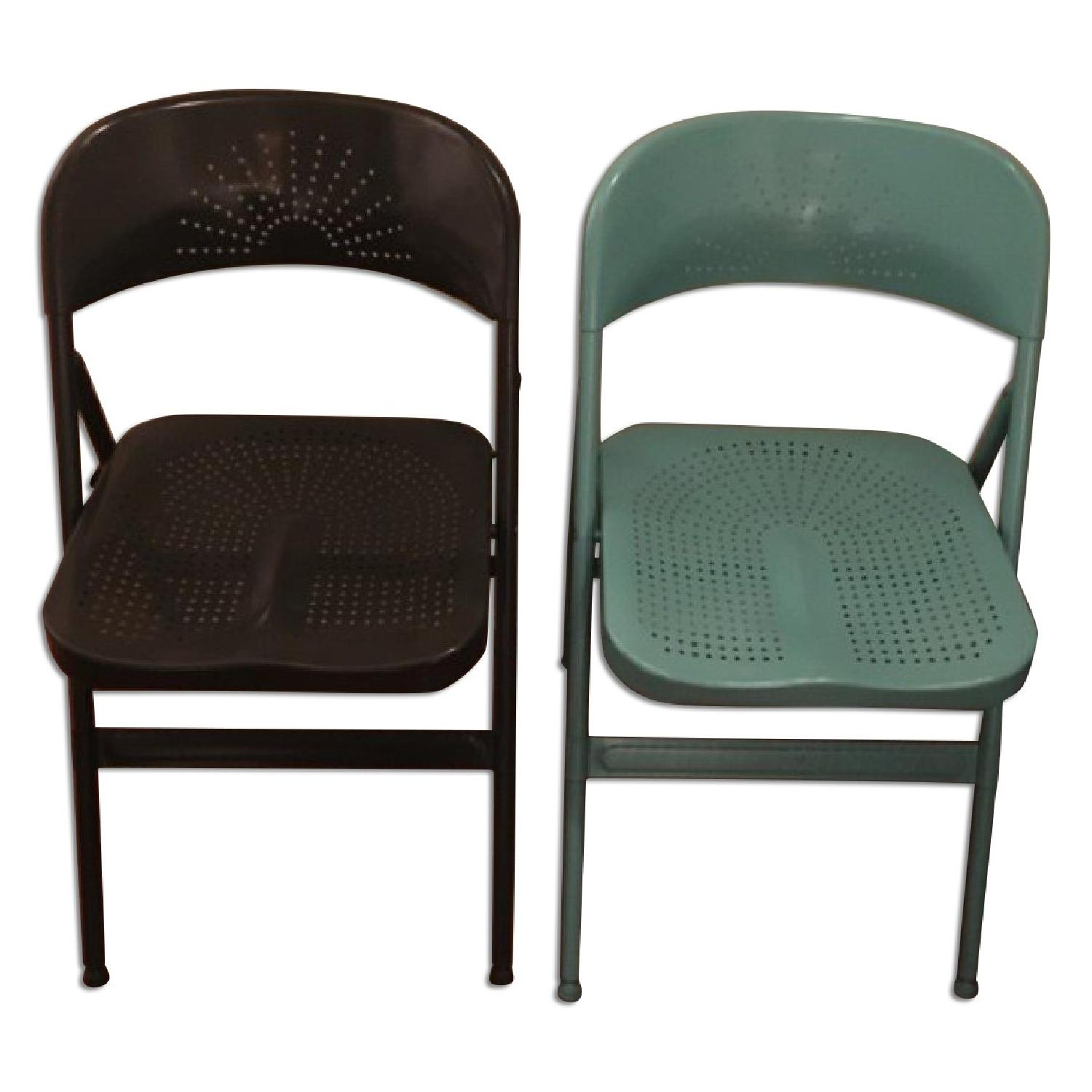 Folding Chair in Dark Grey & Turquoise - image-0