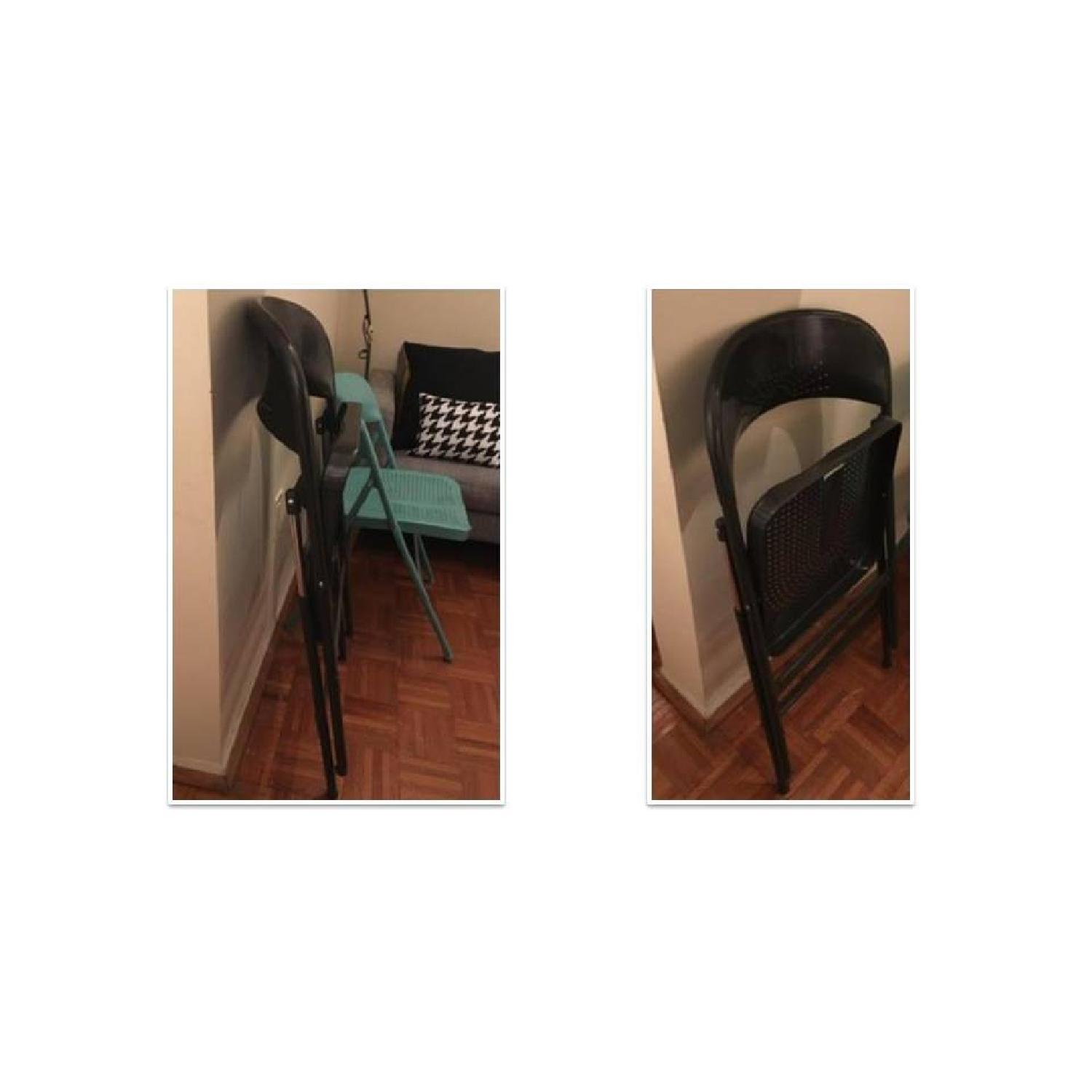 Folding Chair in Dark Grey & Turquoise - image-2