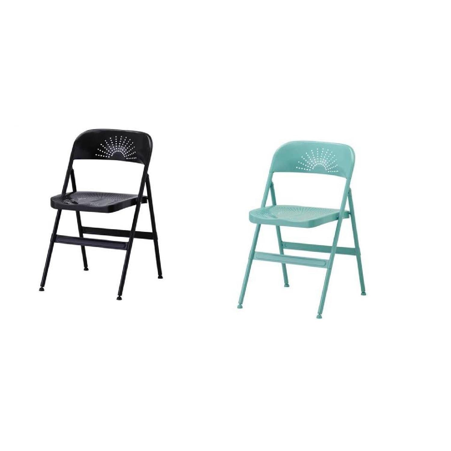Folding Chair in Dark Grey & Turquoise - image-3