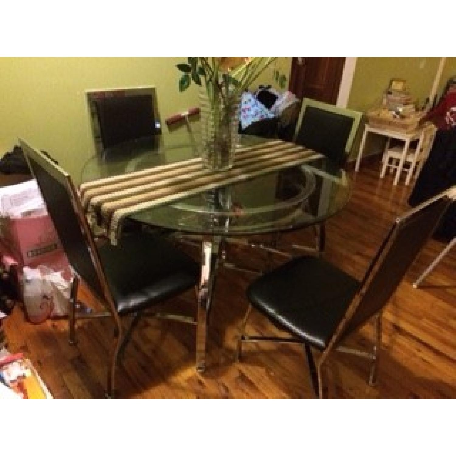 Round Glass Table Dining Table w/ 4 Chairs - image-1