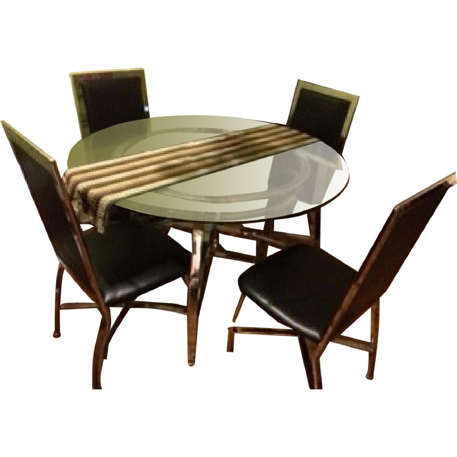 Round Glass Table Dining Table w/ 4 Chairs - image-0