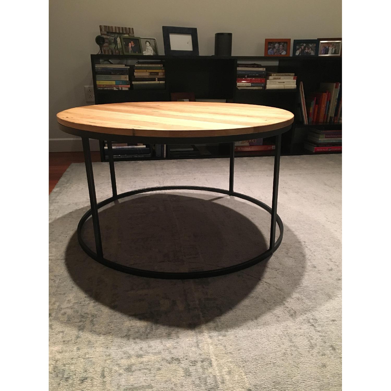 Restoration Hardware Watts Reclaimed Oak Round Coffee Table - image-1