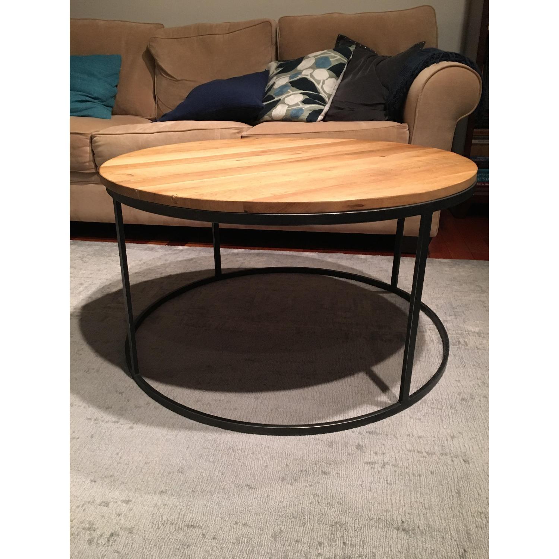 Restoration Hardware Watts Reclaimed Oak Round Coffee Table - image-2