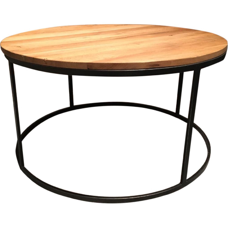 Restoration Hardware Watts Reclaimed Oak Round Coffee Table - image-0