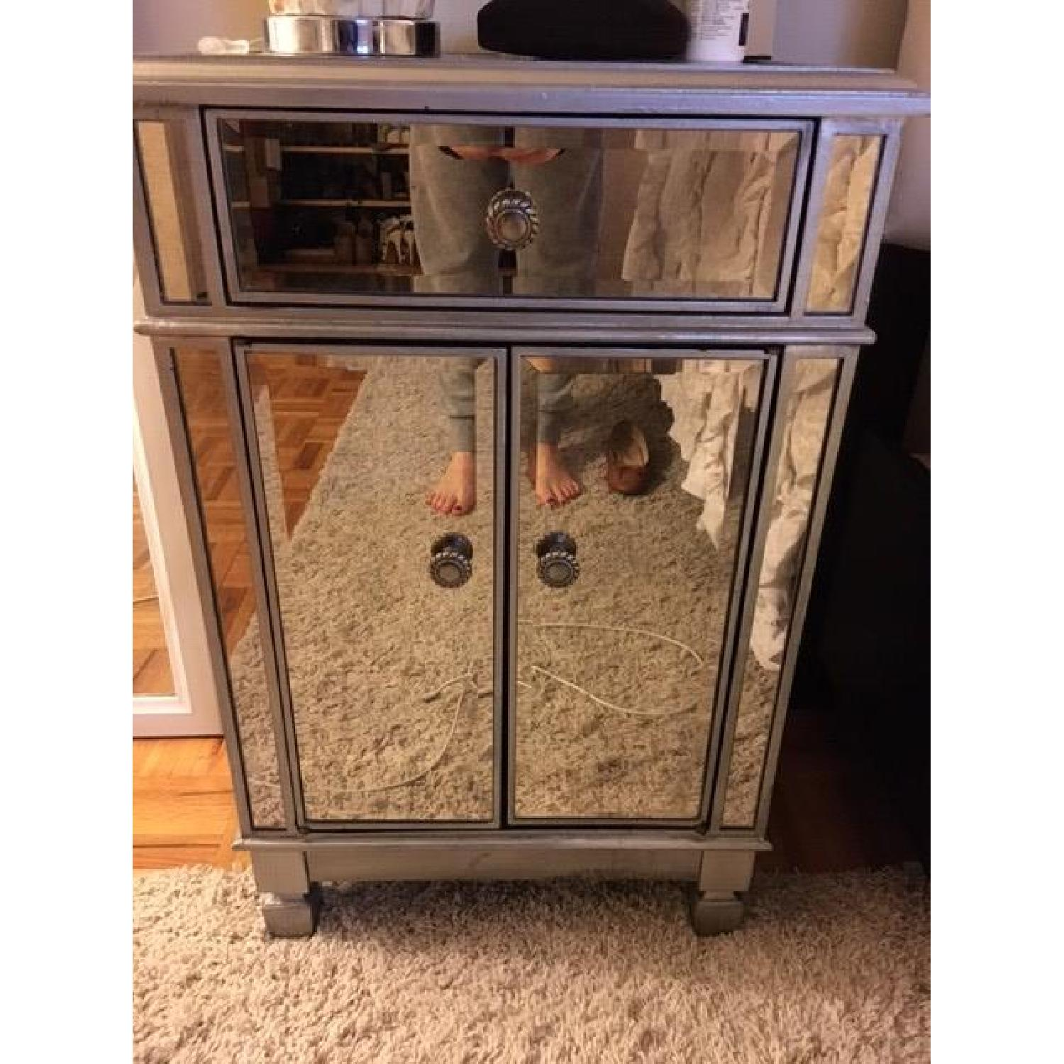 Pier 1 Hayworth Mirrored Bedside Chest in Silver - image-1