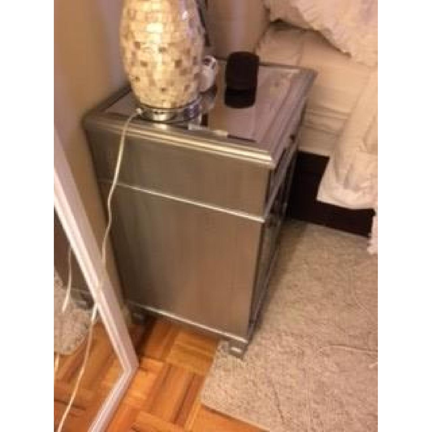 Pier 1 Hayworth Mirrored Bedside Chest in Silver - image-3