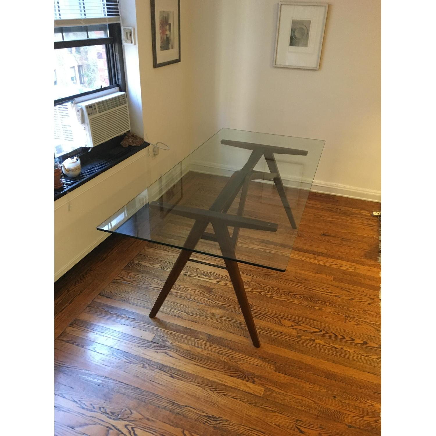 West Elm Modern Glass & Walnut-Stained Dining Table - image-1