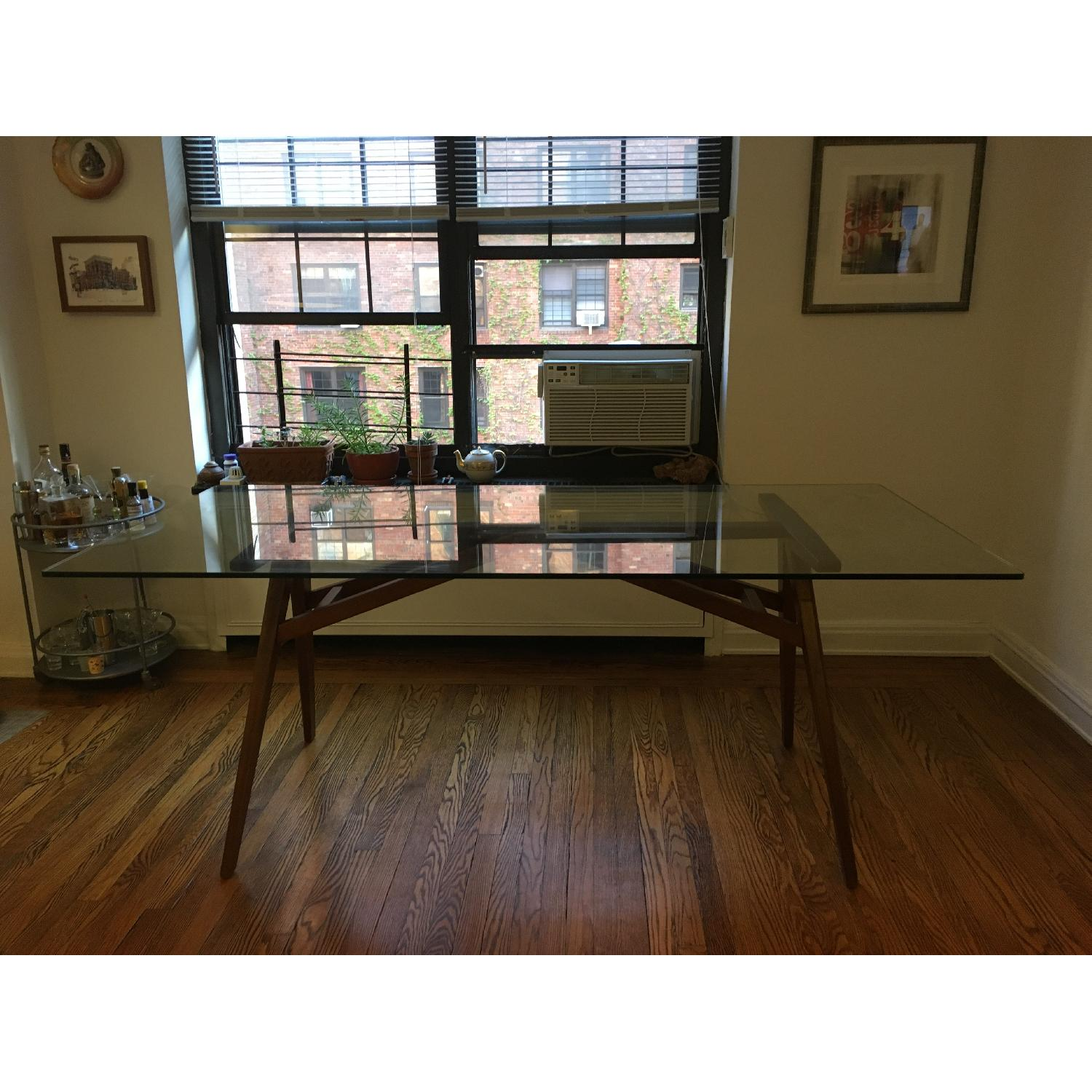 West Elm Modern Glass & Walnut-Stained Dining Table - image-2
