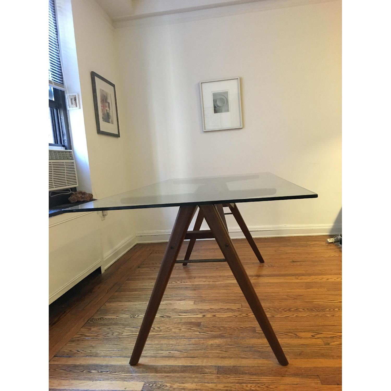 West Elm Modern Glass & Walnut-Stained Dining Table - image-3