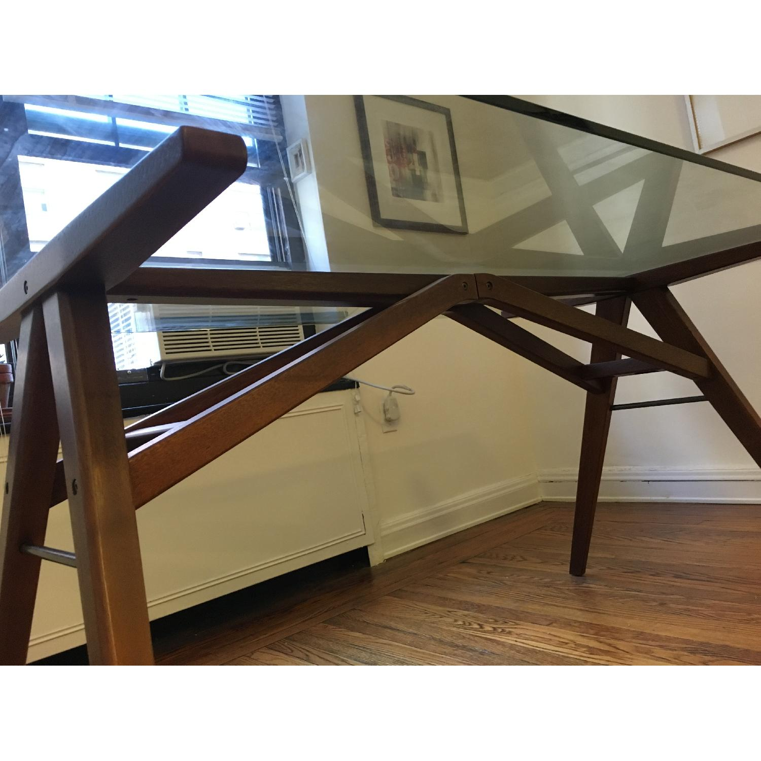 West Elm Modern Glass & Walnut-Stained Dining Table - image-4