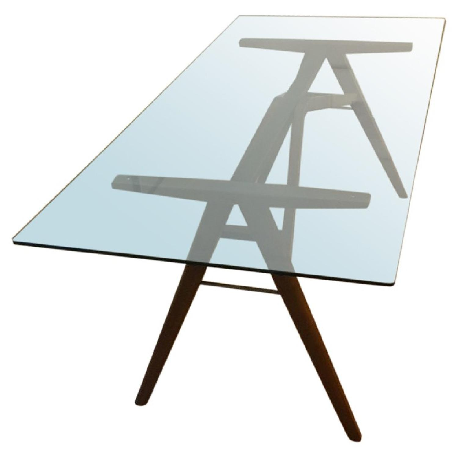 West Elm Modern Glass & Walnut-Stained Dining Table - image-0