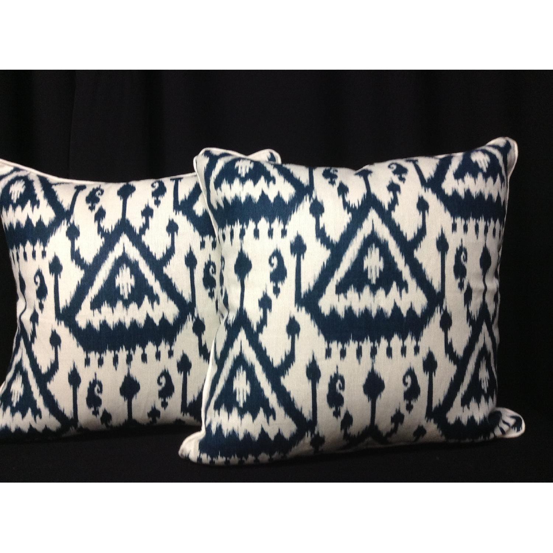 Ikat Pattern Designer Fabric Decorative Pillows - Pair - image-1