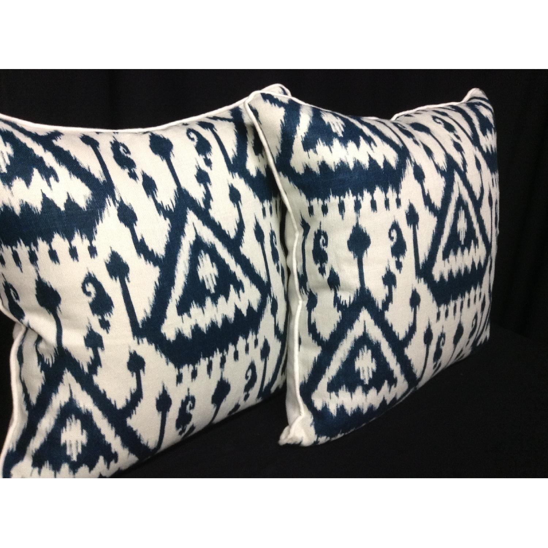 Ikat Pattern Designer Fabric Decorative Pillows - Pair - image-2