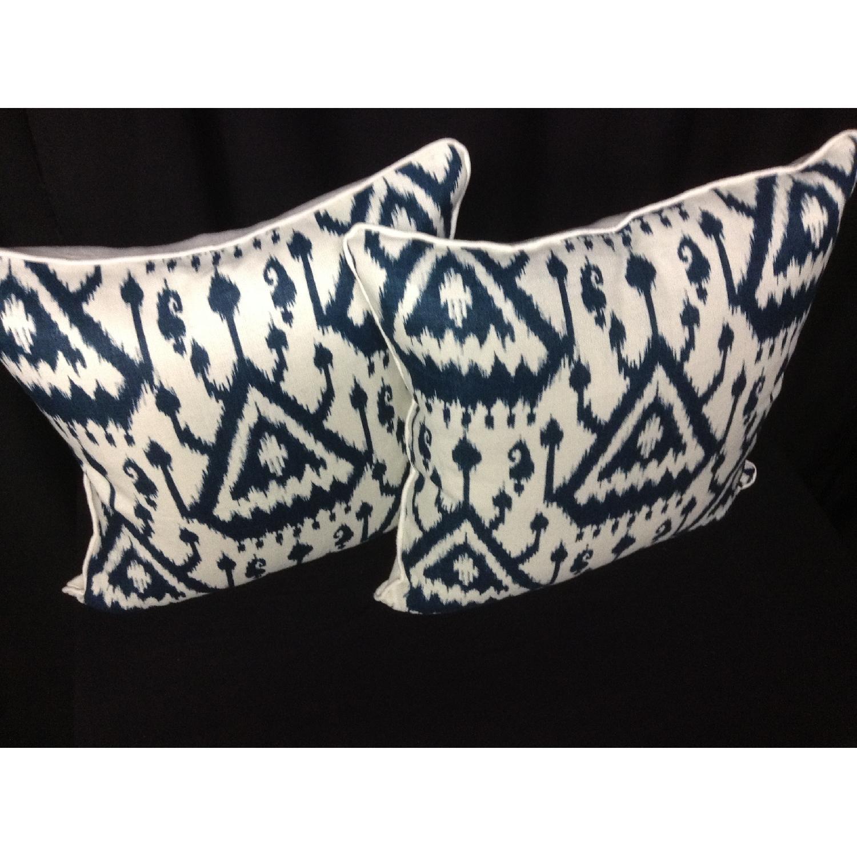 Ikat Pattern Designer Fabric Decorative Pillows - Pair - image-3