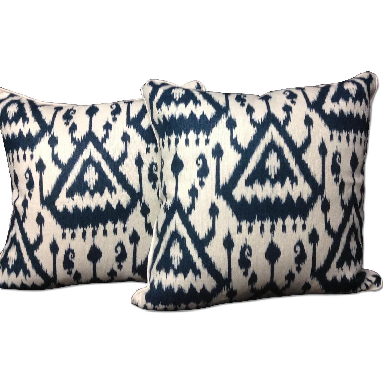 Ikat Pattern Designer Fabric Decorative Pillows - Pair - image-0