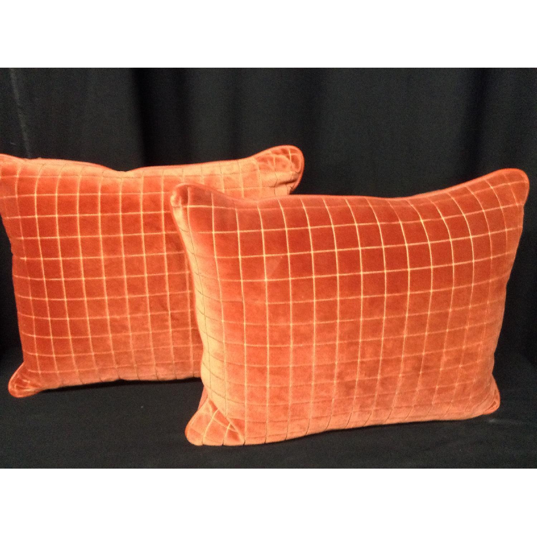 Burnt Orange Retro Fabric Decorative Pillows - Pair - image-1