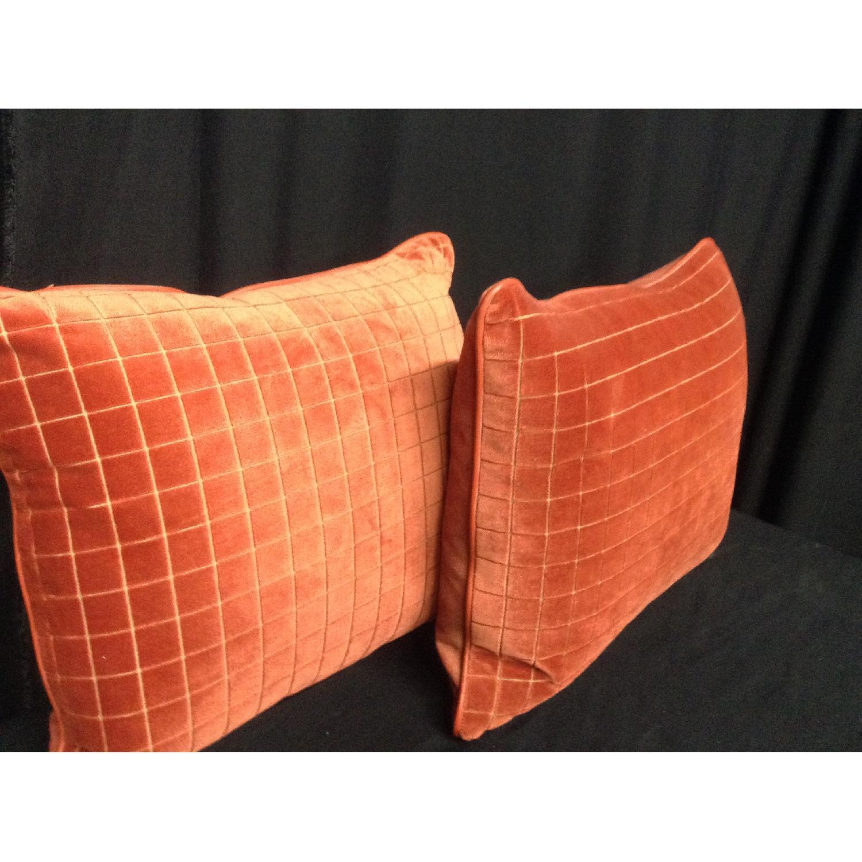 Burnt Orange Retro Fabric Decorative Pillows - Pair - image-3