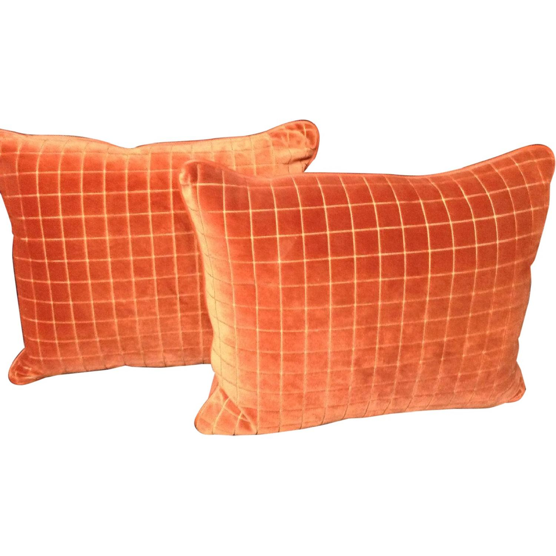 Burnt Orange Retro Fabric Decorative Pillows - Pair - image-0