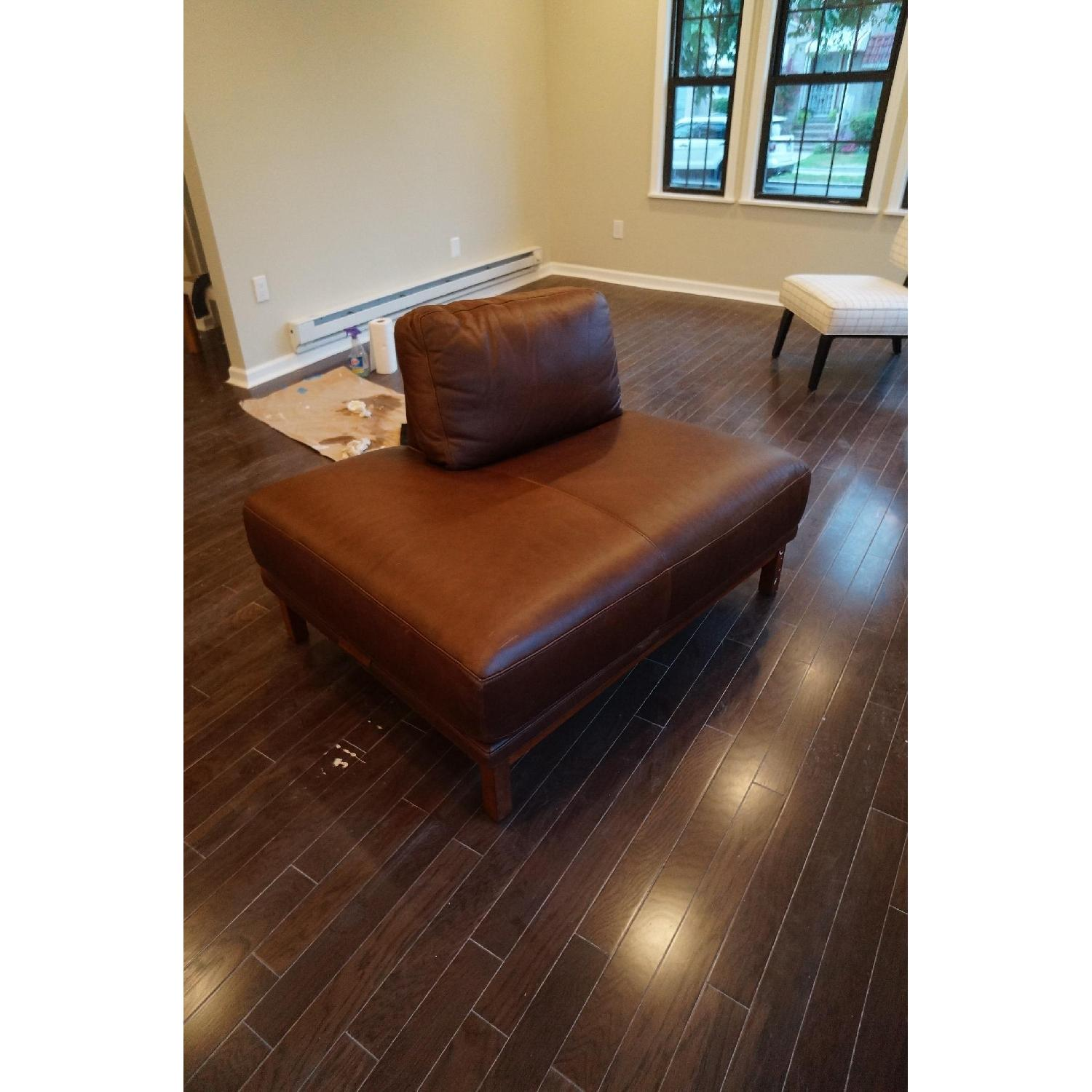 West Brown Leather Chaise Lounge Chair - image-0