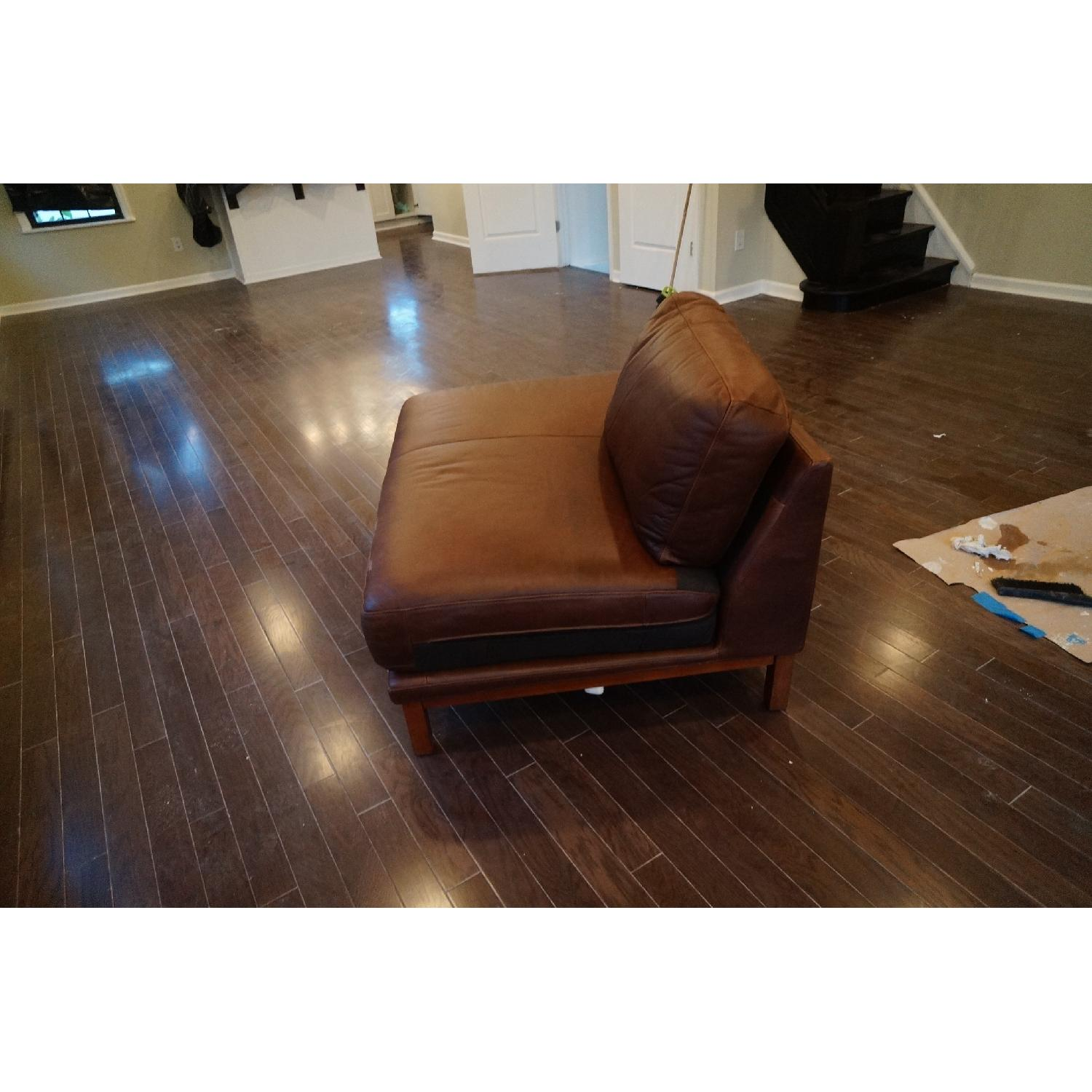 West Brown Leather Chaise Lounge Chair - image-3
