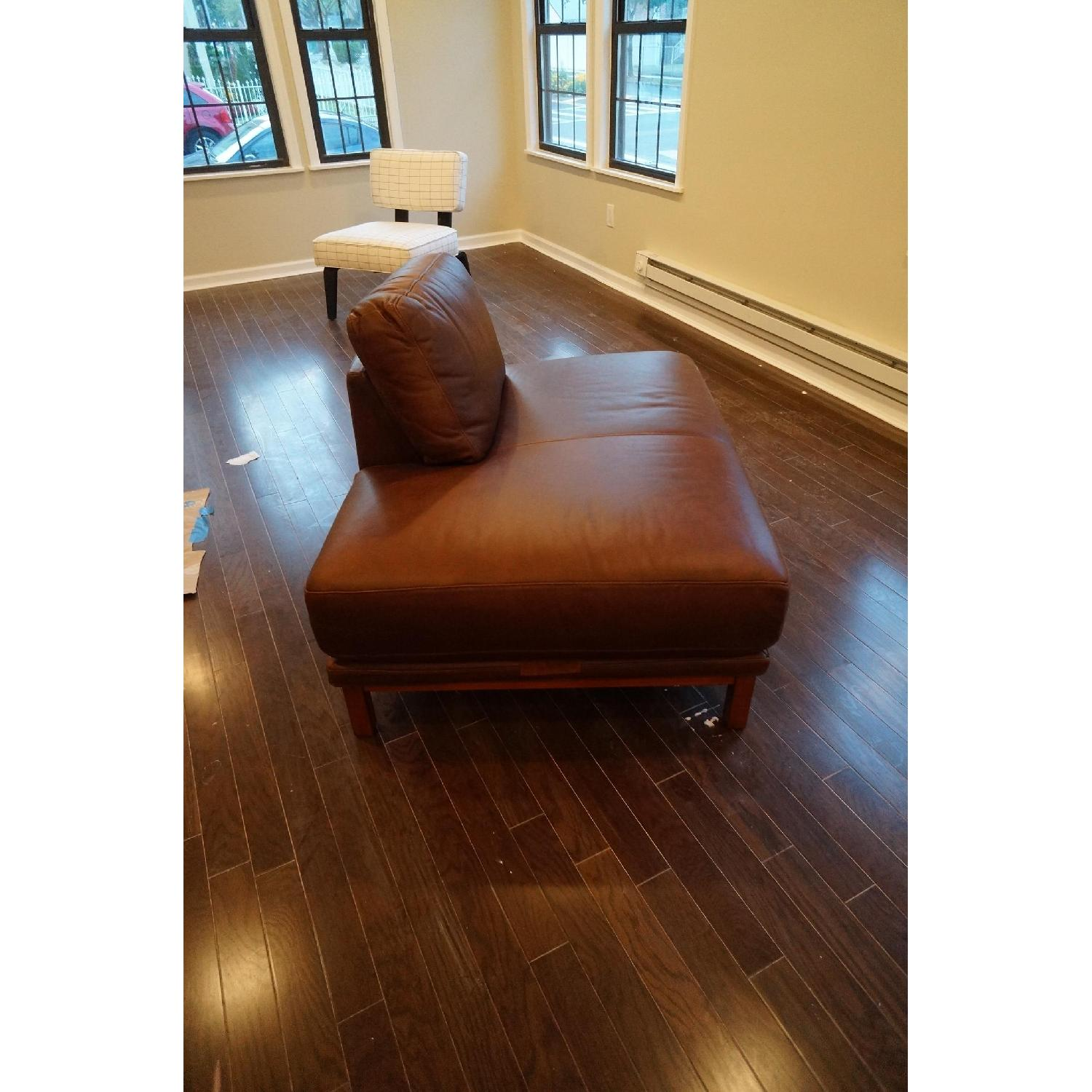 West Brown Leather Chaise Lounge Chair - image-5