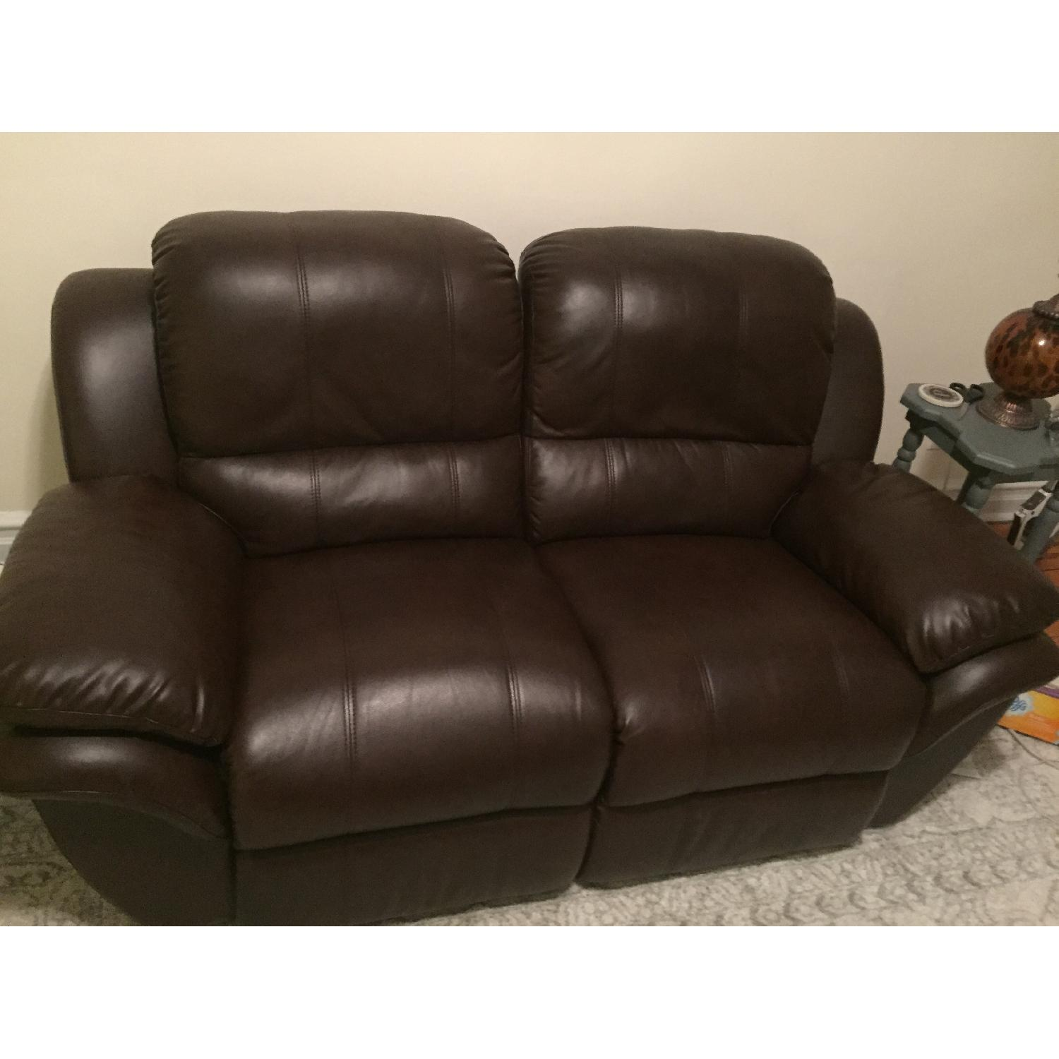Leather Reclining Loveseat - image-1