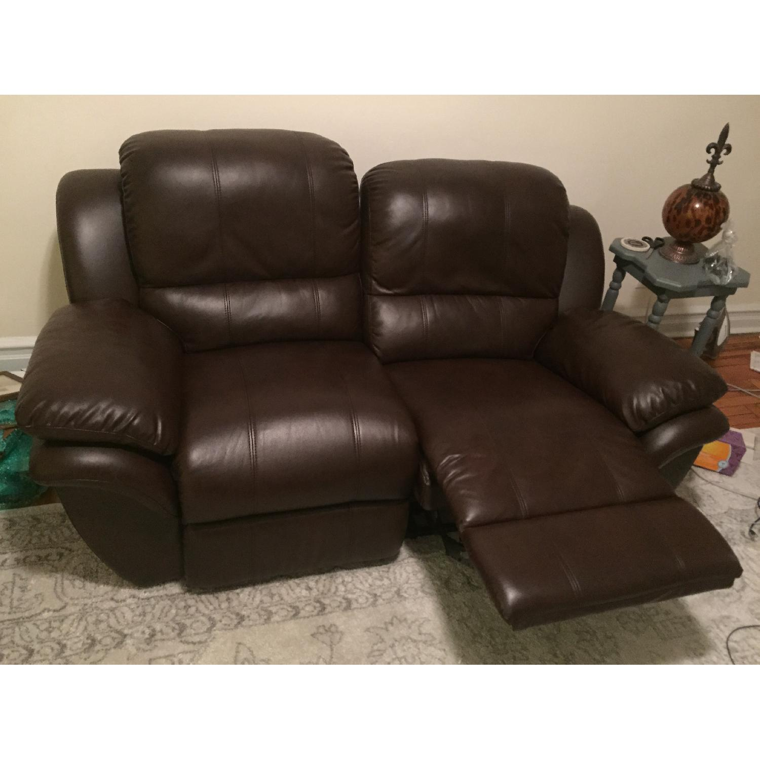 Leather Reclining Loveseat - image-2