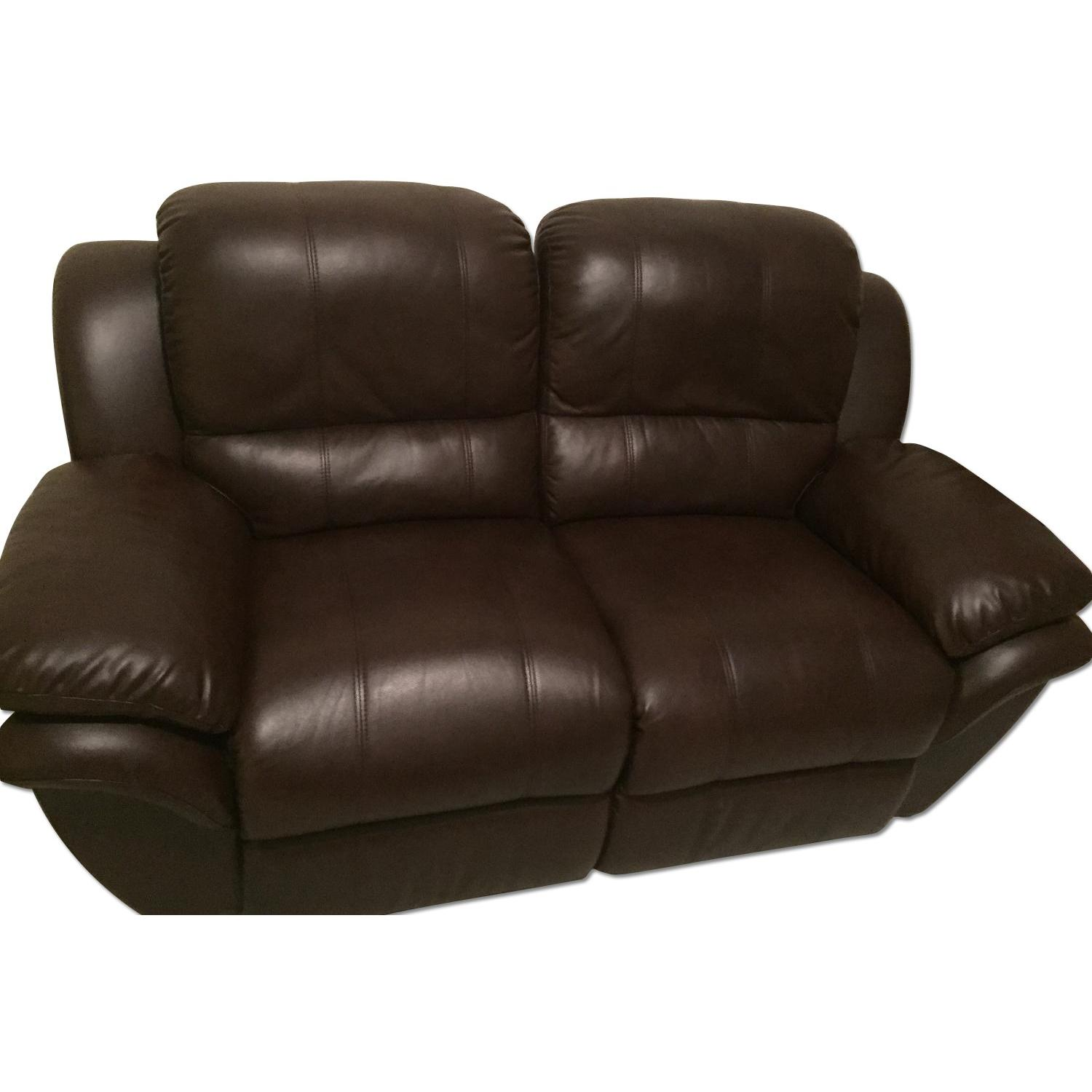 Leather Reclining Loveseat - image-0