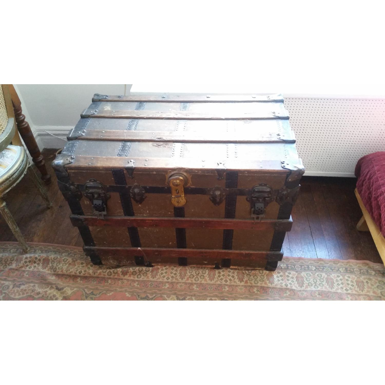 Antique Wood & Brass Shipping Trunk - image-1