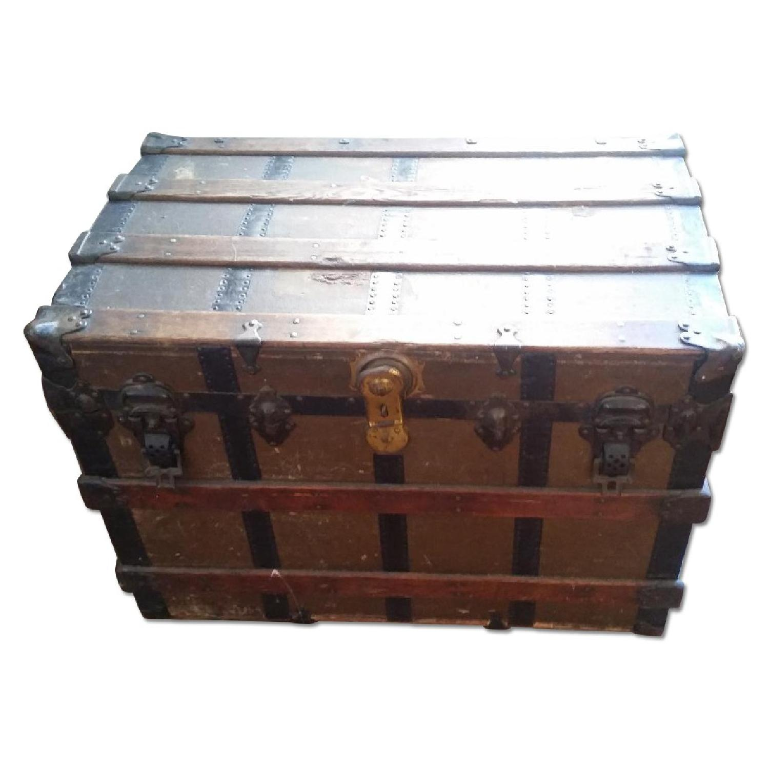 Antique Wood & Brass Shipping Trunk - image-0