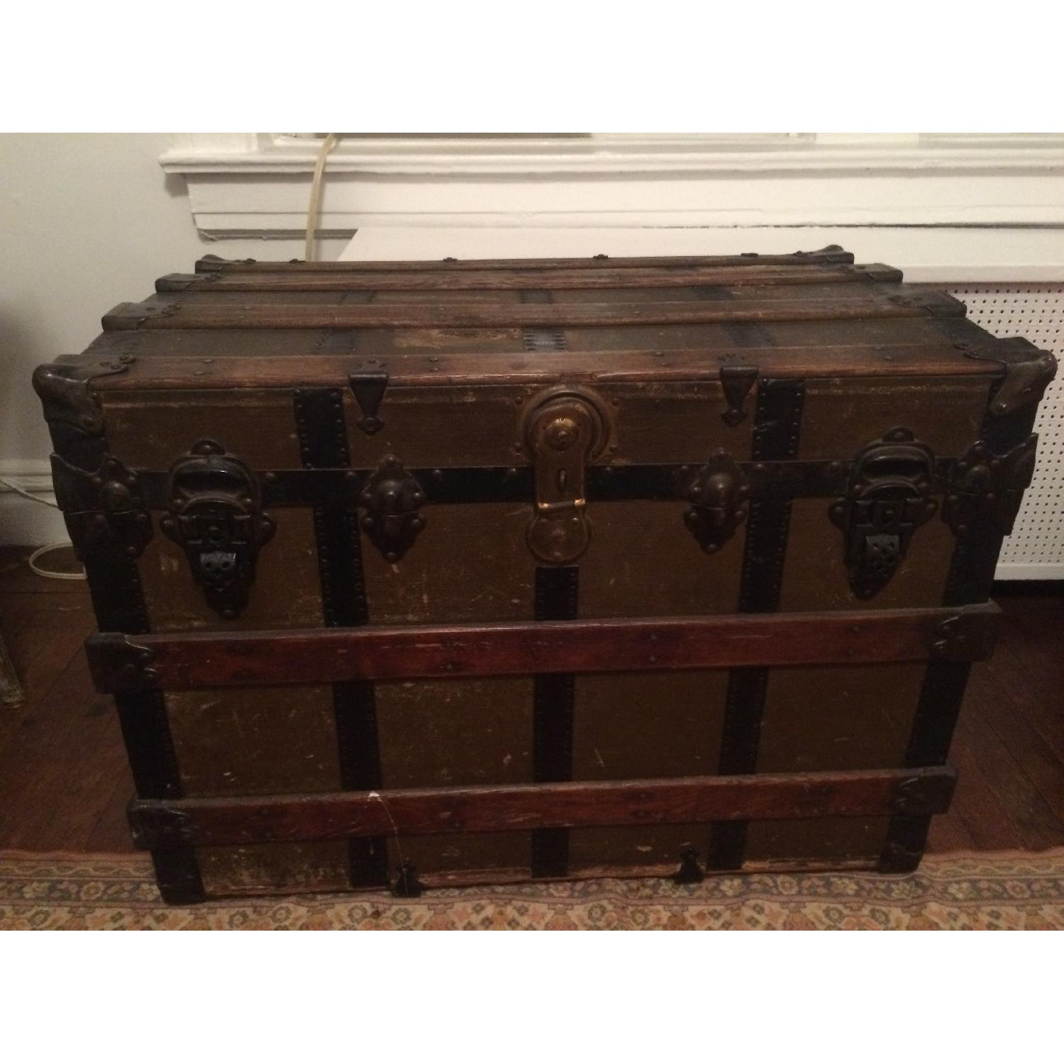 Antique Wood & Brass Shipping Trunk - image-5