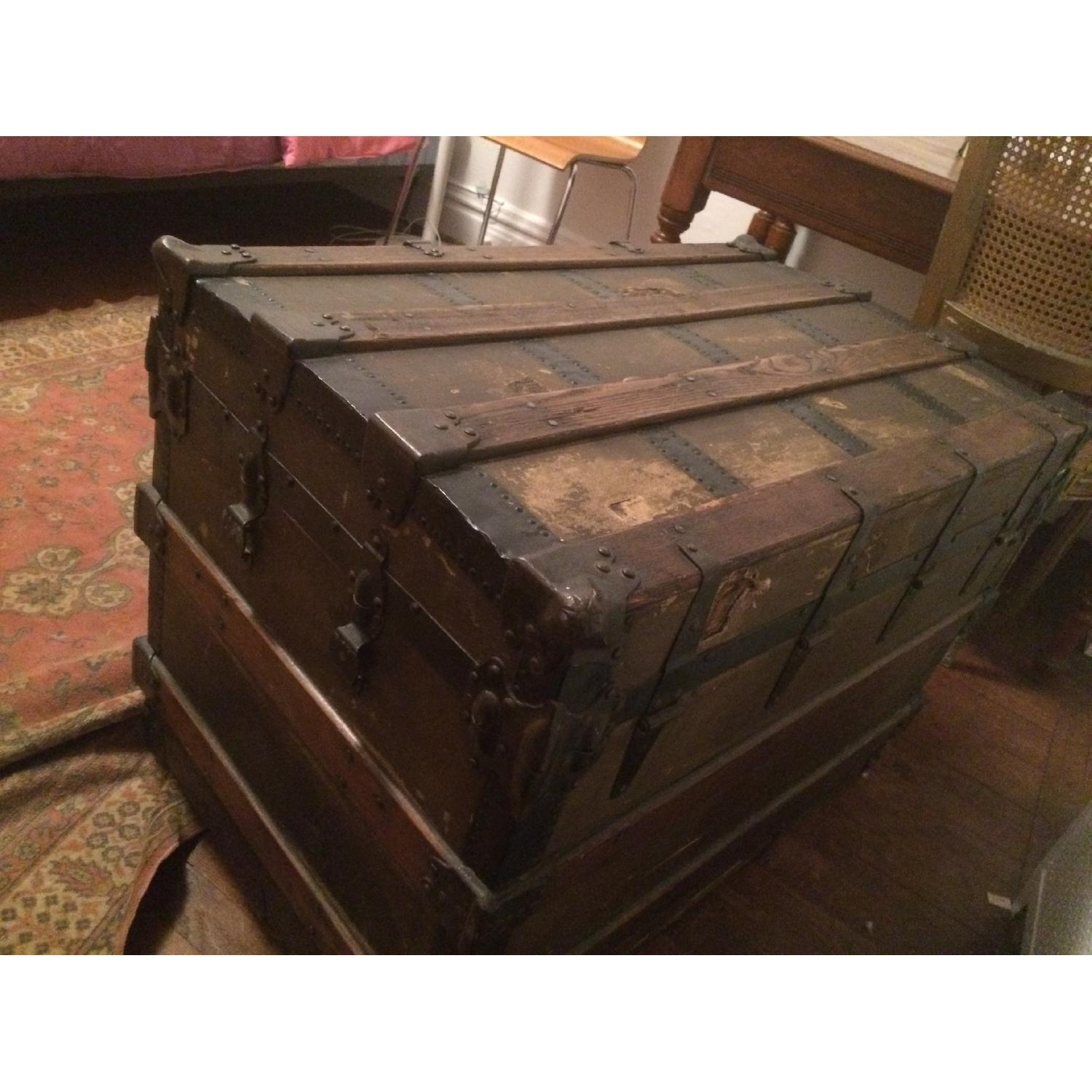 Antique Wood & Brass Shipping Trunk - image-6