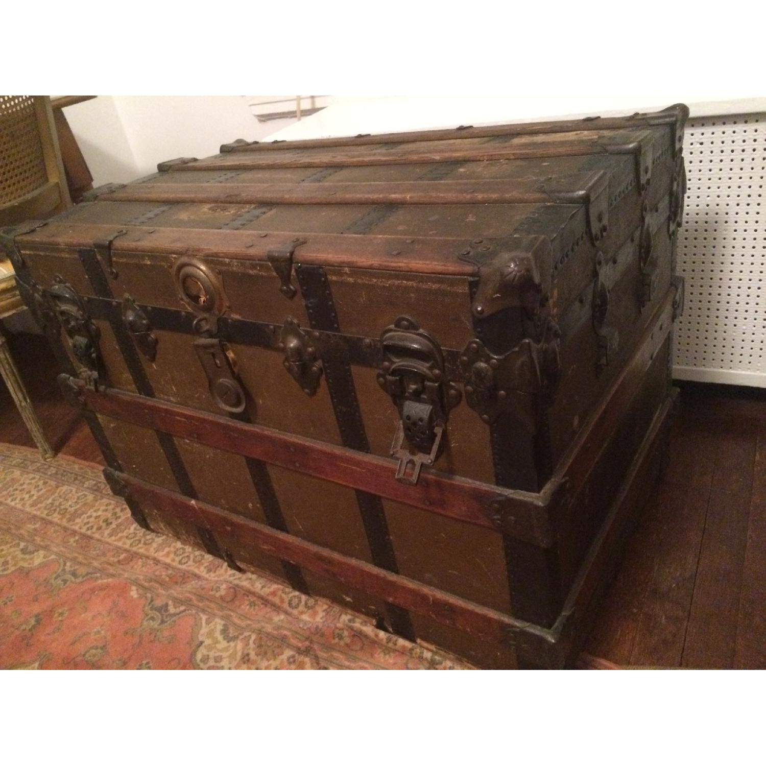 Antique Wood & Brass Shipping Trunk - image-7