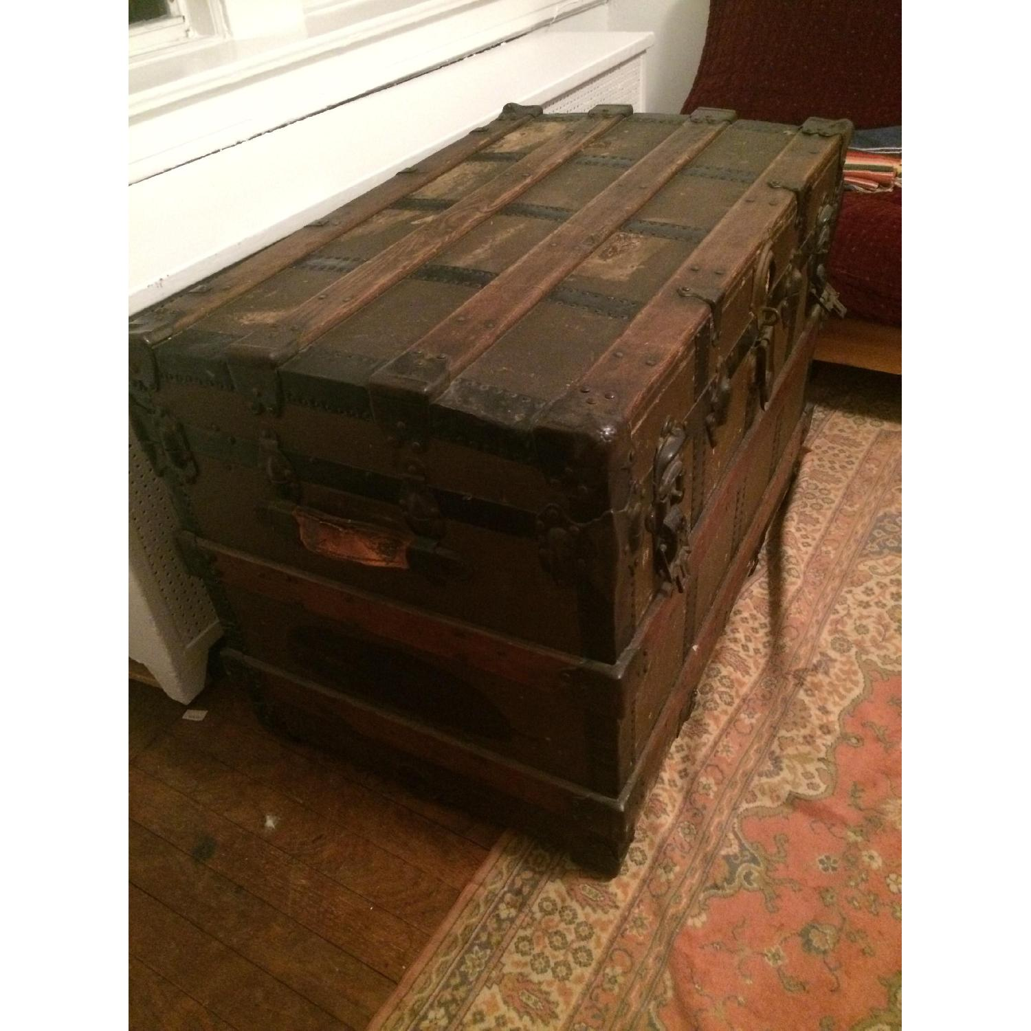 Antique Wood & Brass Shipping Trunk - image-8