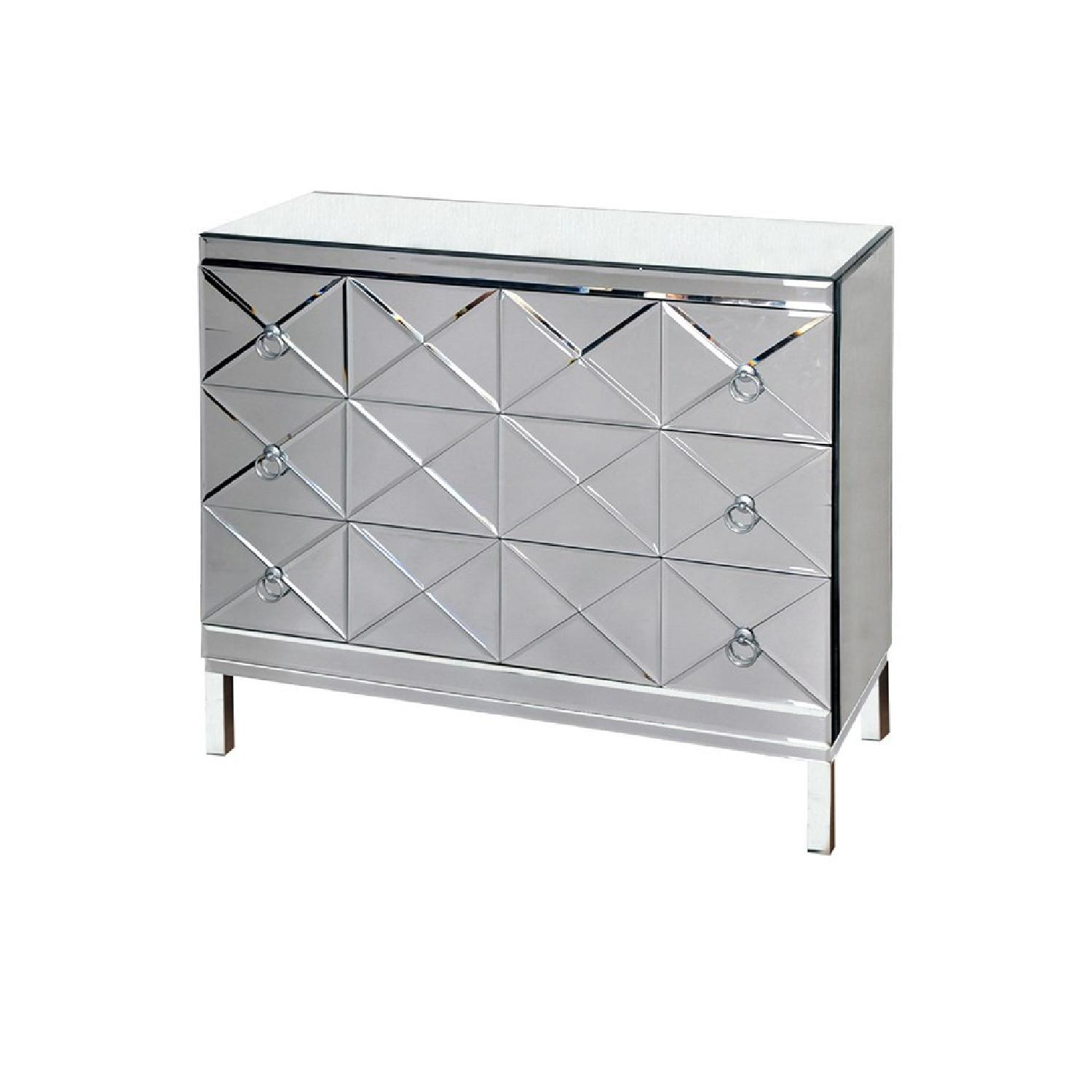 3 Drawer Mirrored Chest w/ X Shaped Beveled Drawer Panels - image-0