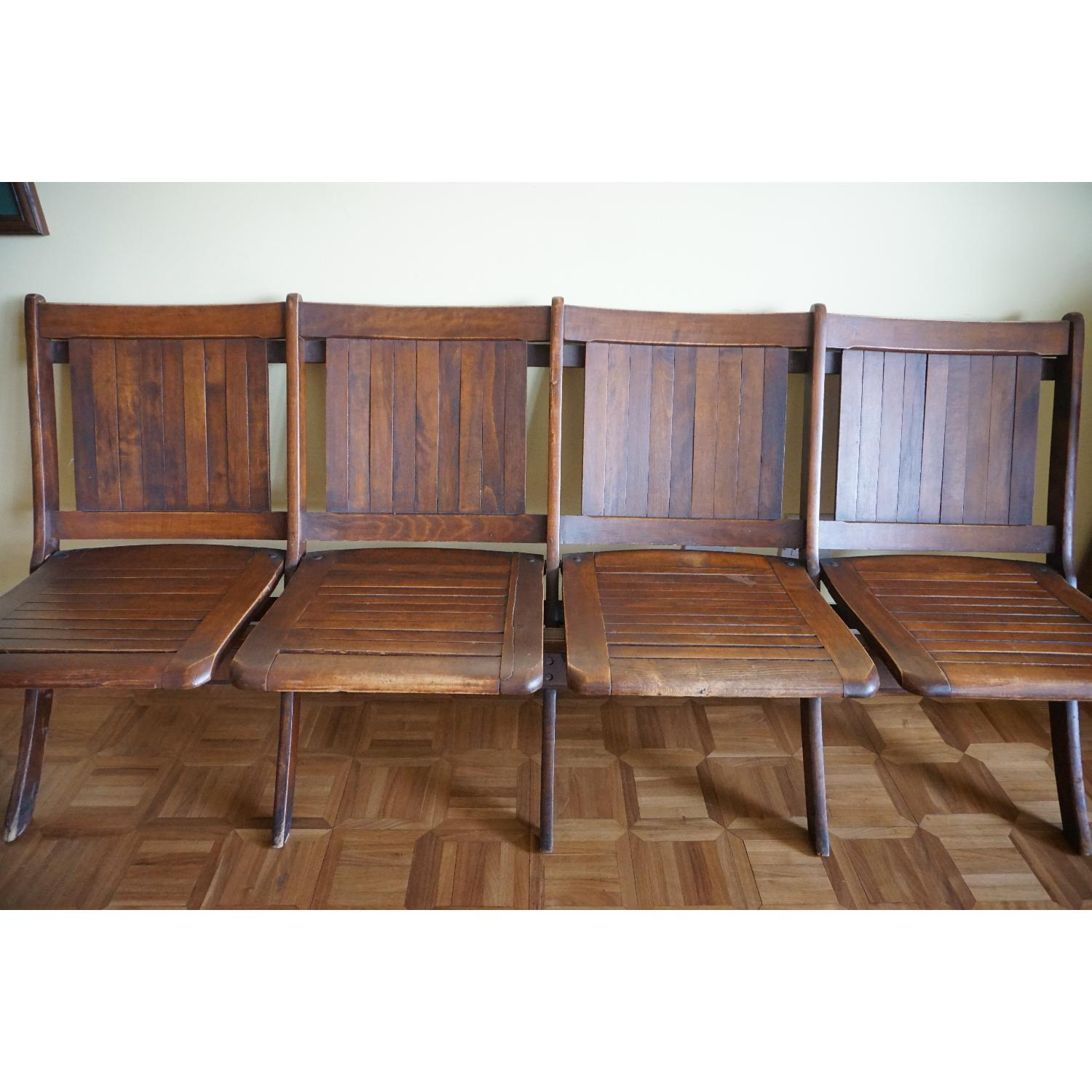 Vintage Harlem Movie Theater Wooden Bench Seats - image-1