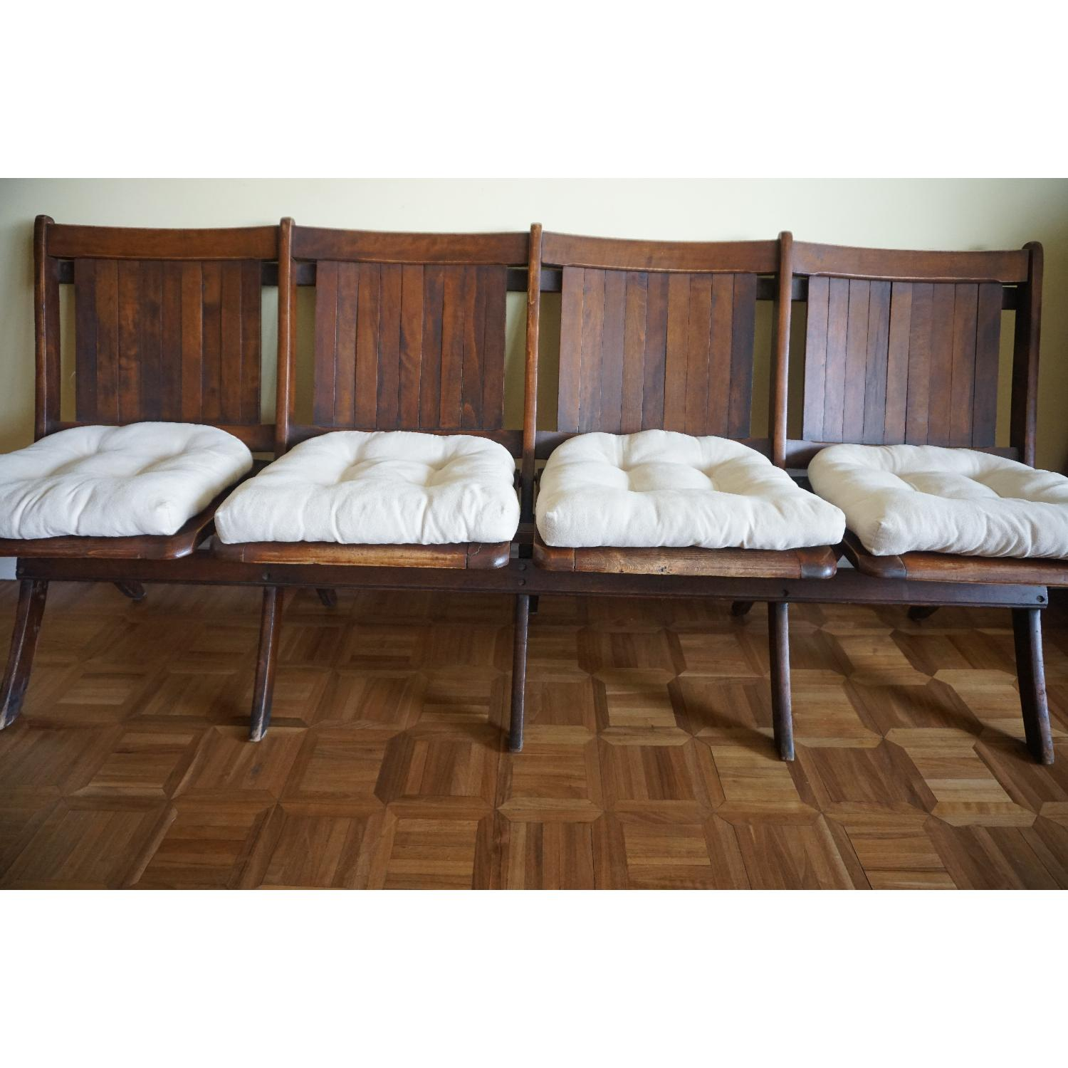 Vintage Harlem Movie Theater Wooden Bench Seats - image-2