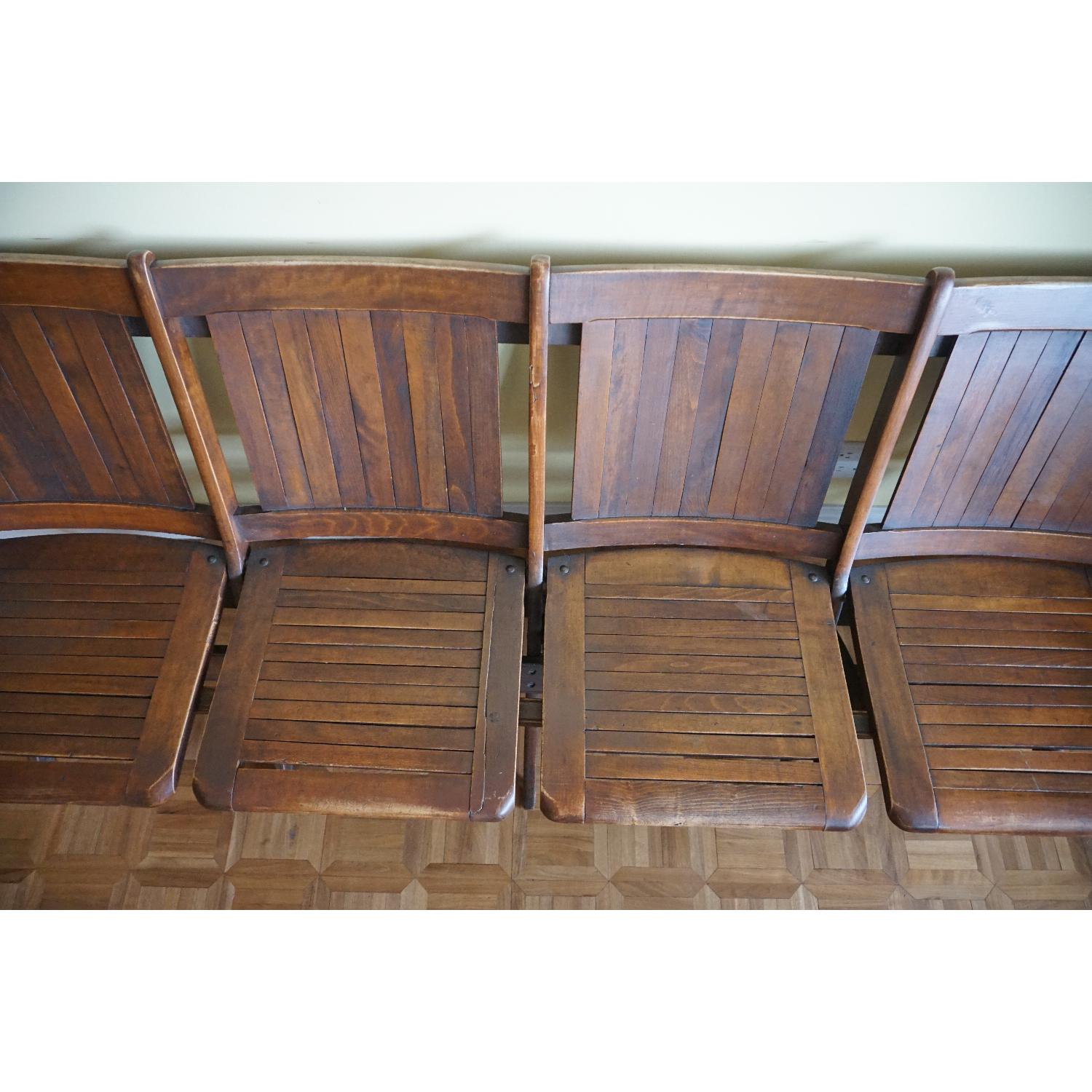Vintage Harlem Movie Theater Wooden Bench Seats - image-3