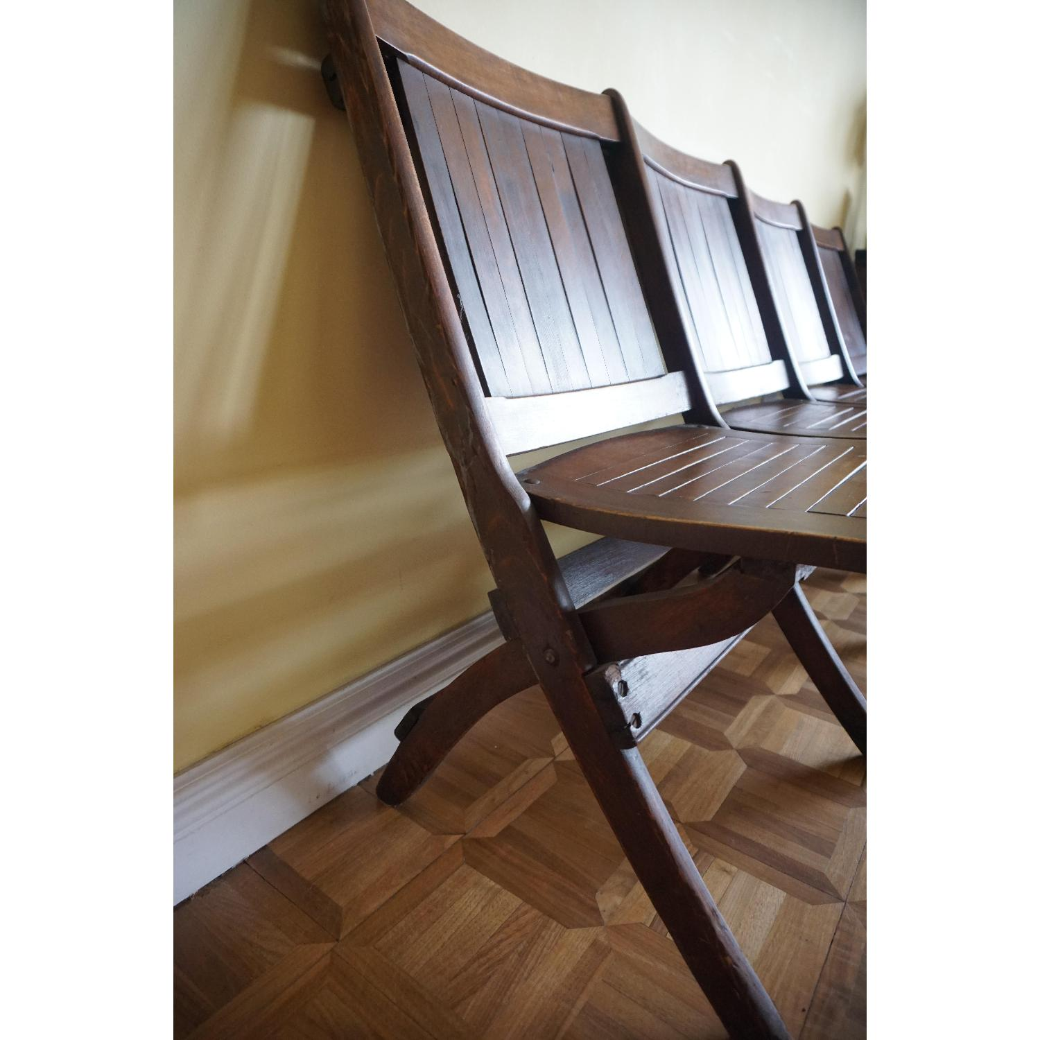 Vintage Harlem Movie Theater Wooden Bench Seats - image-6