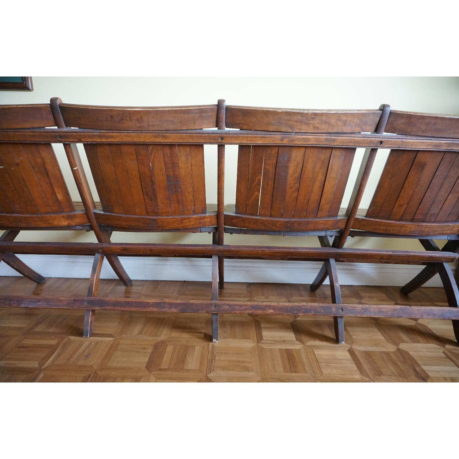 Vintage Harlem Movie Theater Wooden Bench Seats - image-7