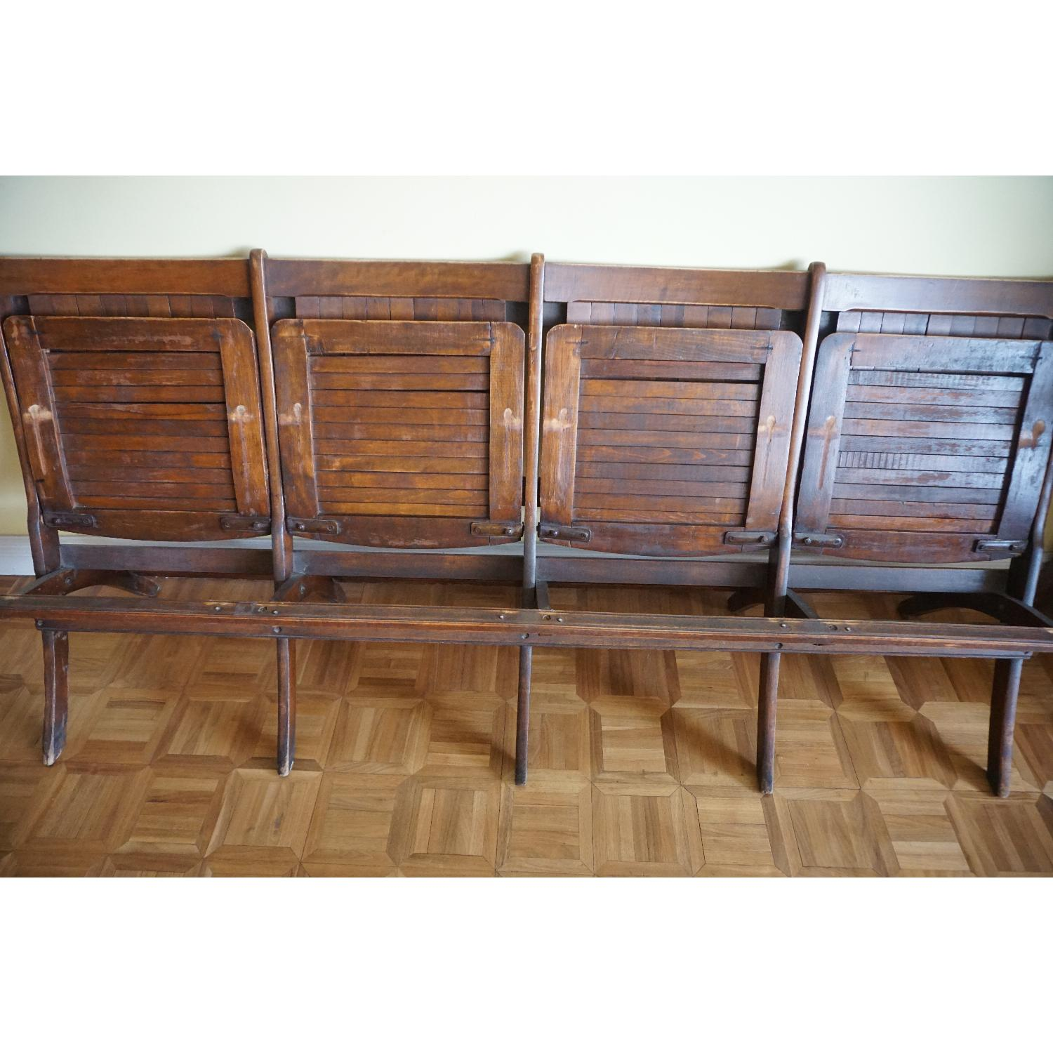 Vintage Harlem Movie Theater Wooden Bench Seats - image-8