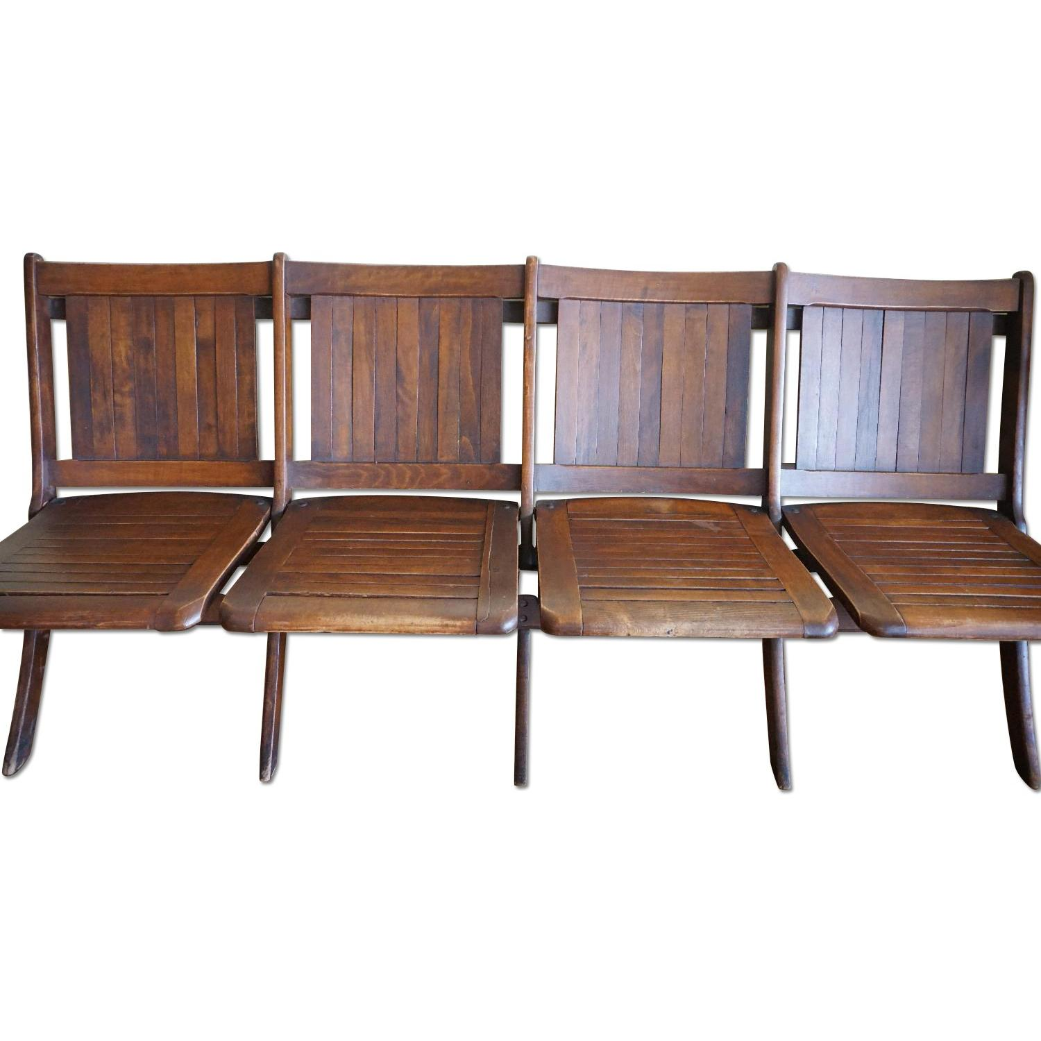 Vintage Harlem Movie Theater Wooden Bench Seats - image-0