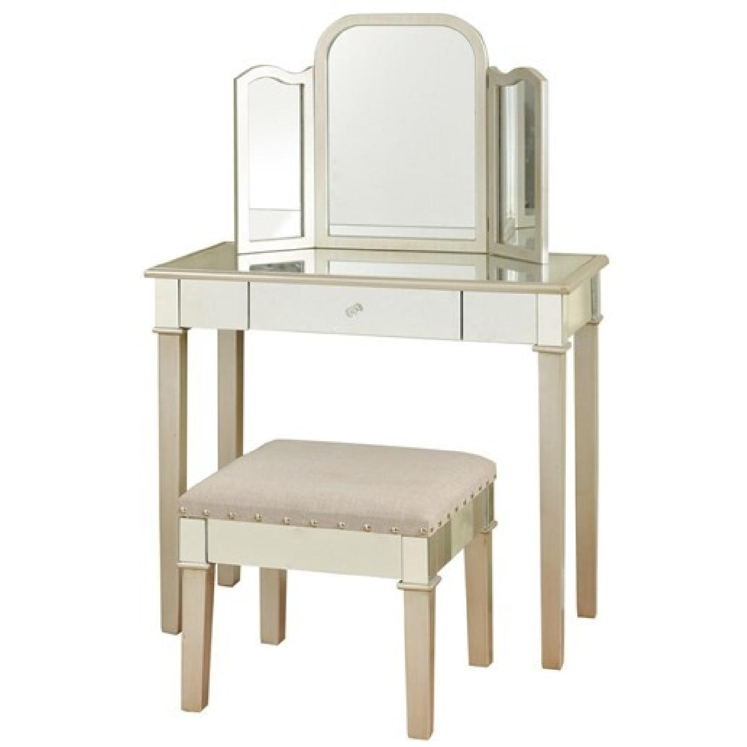 Makeup Vanity w/ Trifold Mirror & Small Bench - image-0