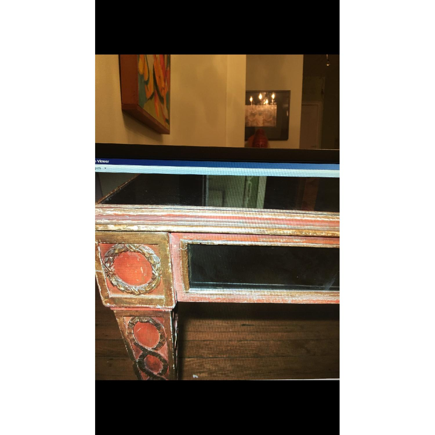 Antique Mid Century Smoked Glass & Wooden Coffee Table - image-1