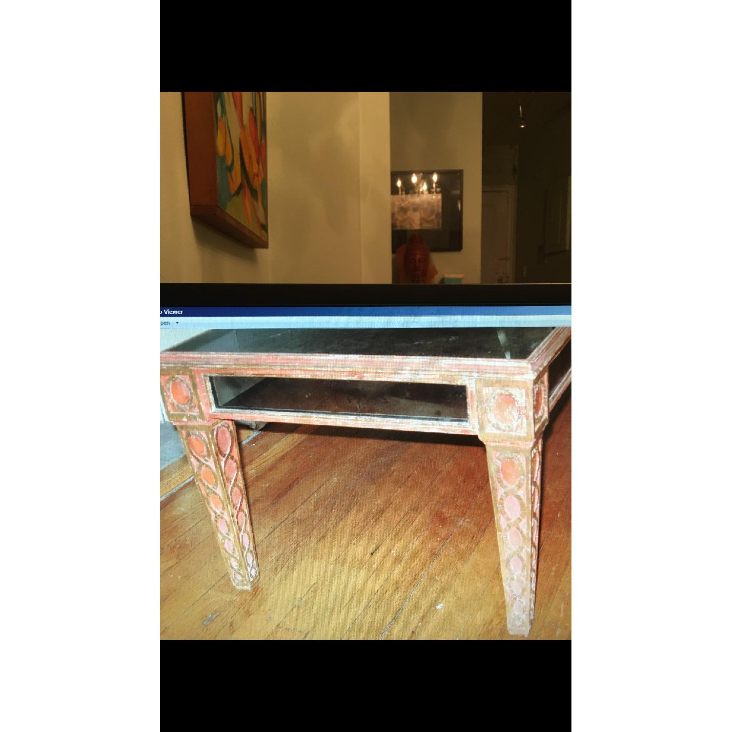 Antique Mid Century Smoked Glass & Wooden Coffee Table - image-2