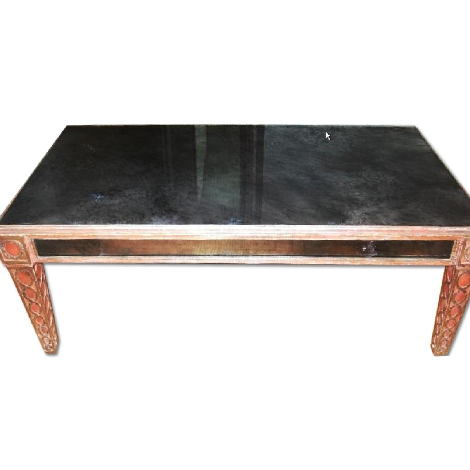Antique Mid Century Smoked Glass & Wooden Coffee Table - image-0