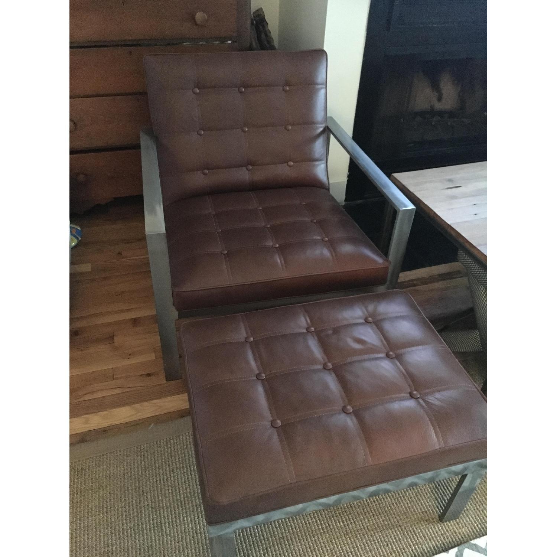 Arhaus Leather Chair & Ottoman - image-1