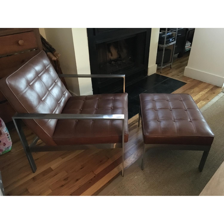 Arhaus Leather Chair & Ottoman - image-2
