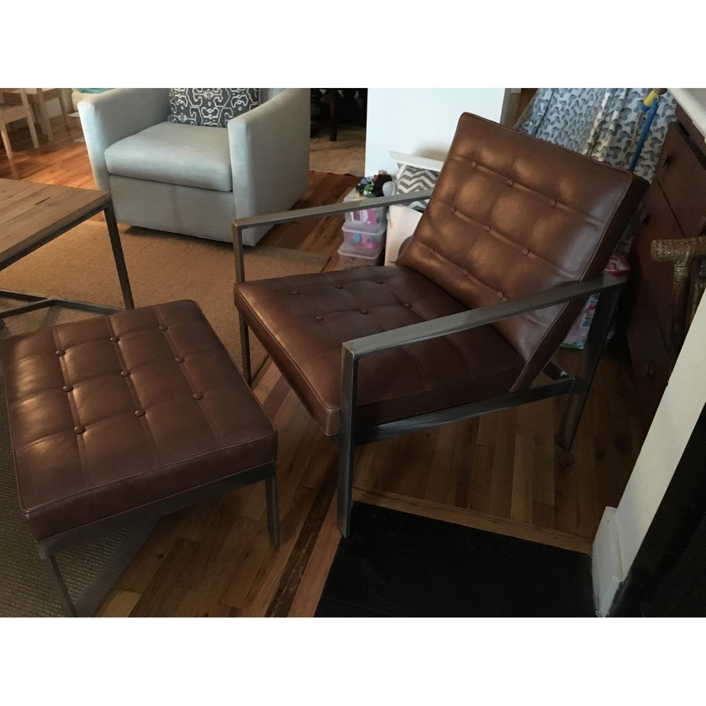 Arhaus Leather Chair & Ottoman - image-3