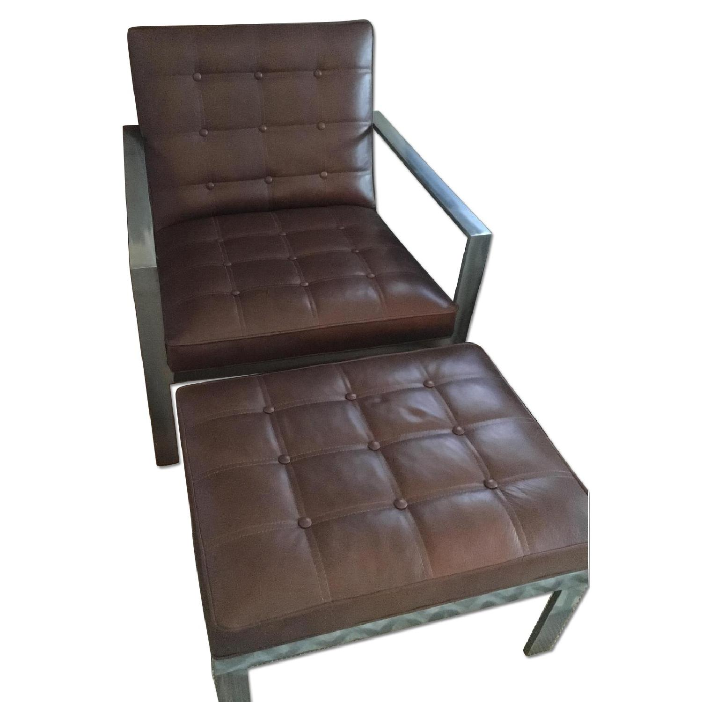 Arhaus Leather Chair & Ottoman - image-0